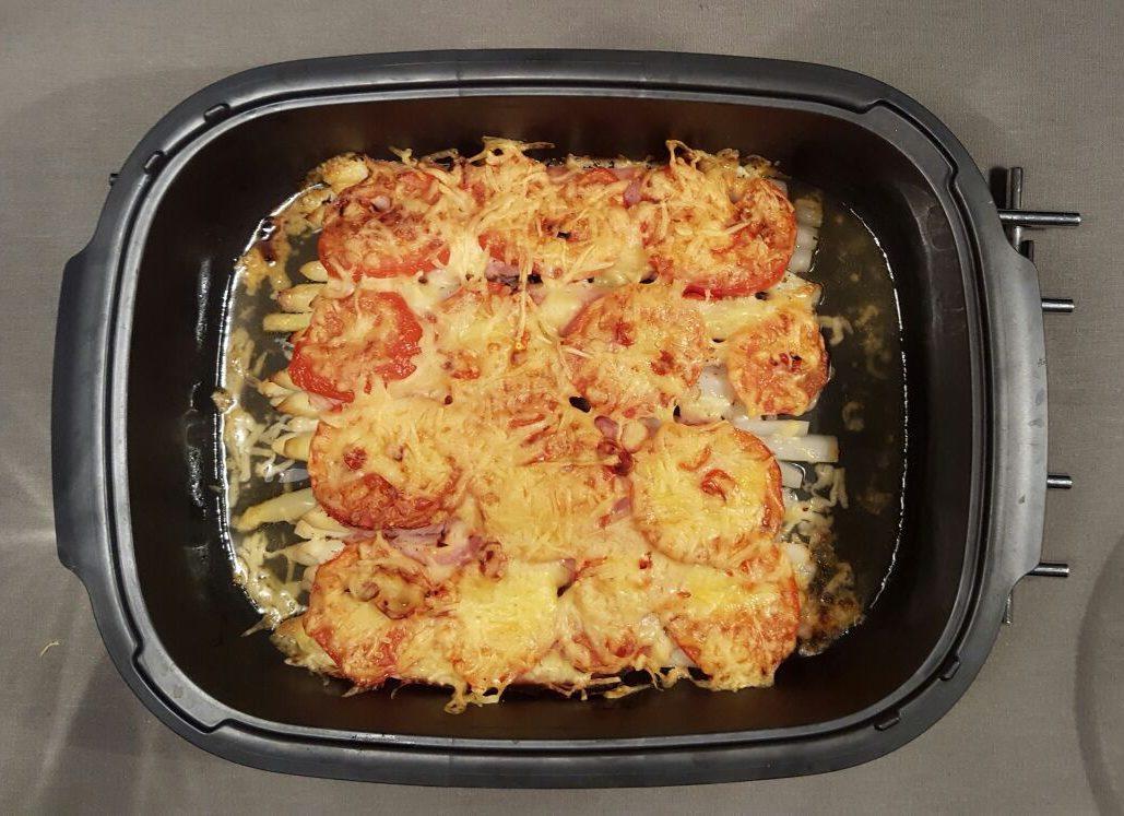 Asperges met tomaat en kaas